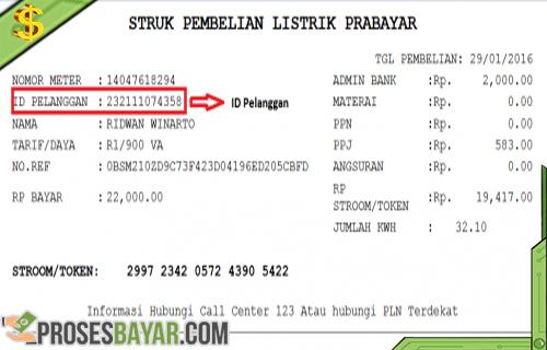 ID pelanggan PLN Struk Pembelian Listrik