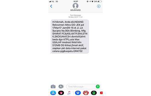SMS Sukses Mendaftar GO-JEK
