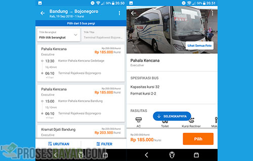 Pilih Bus mana yang diinginkan