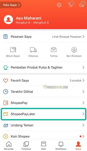 Pilih Menu Shopee Paylater