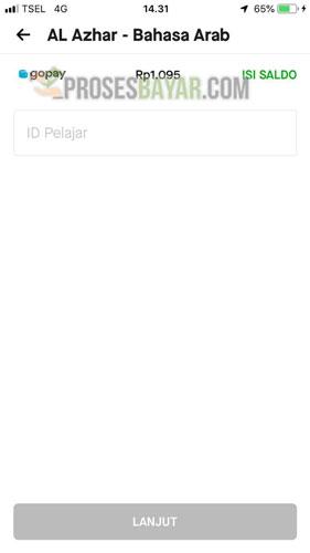 Setelah menemukan dan klik nama sekolah kamu masukkan ID Pelajar atau nomor induk siswa kemudian kamu klik Lanjut