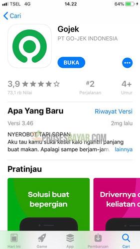 Silahkan buka aplikasi Gojek di HP Android atau iPhone kamu