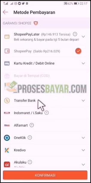 Pilih Transfer Bank