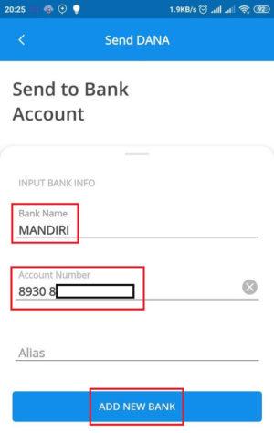 Masukan Nama Bank dan Nomor VA