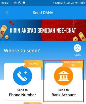 Pilih Send To Bank Account