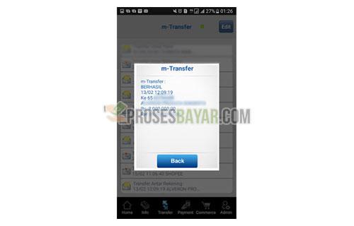 Tampilan Pop Up Bukti Transfer BCA Mobile