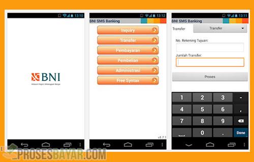 Transfer SMS Banking BNI Sesama via Aplikasi
