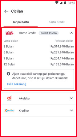 2 Pilih Home Credit dan Klik Cicil Sekarang