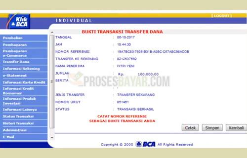 Bukti Transfer KlikBCA
