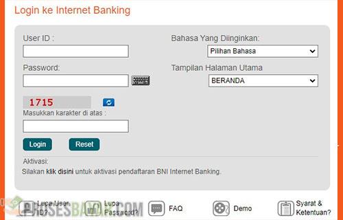 Lewat Internet Banking BNI