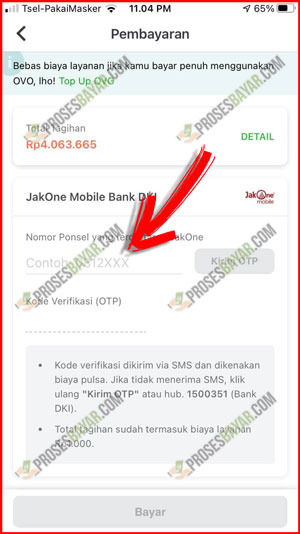 Masukan Kode OTP JakOne Mobile