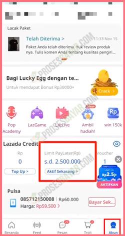 Cari dan Pilih Lazada PayLater