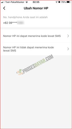Pilih Alasan Ganti Nomor HP