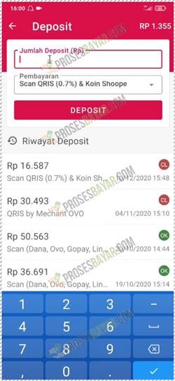 4 Masukan Jumlah Deposit